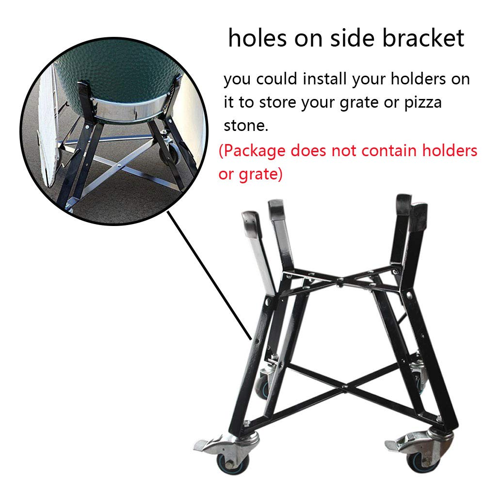 Dracarys Rolling Cart Big Green Egg Accessories,BBQ Rolling Nest with Heavy Duty Locking Caster Wheels Powder Coated Steel Rolling Outdoor Cart for Large Big Green Egg Kamado Joe Grill Stand Cooking by Dracarys