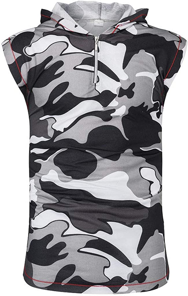 Mens Summer Hoodie Vest Tronet Camouflage Vest Jacket Lightweight Patchwork Sleeveless Contrast Hoodie