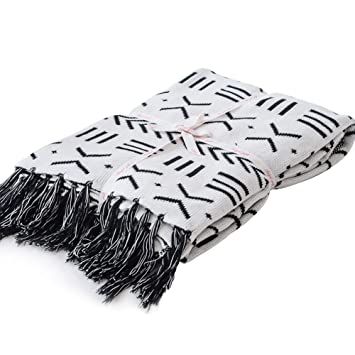 Superb Lakemono 100 Cotton Knitted Blanket Black And White Two Sides Jacquard Couch Throw Blanket With Handmade Tassels 52X 63 Gmtry Best Dining Table And Chair Ideas Images Gmtryco