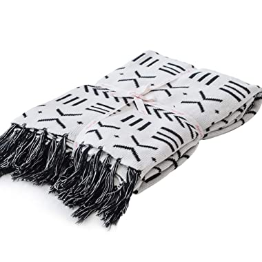 LakeMono 100% Cotton Knitted Blanket Black and White Two Sides Jacquard Couch Throw Blanket with Handmade Tassels (52''x 63'')