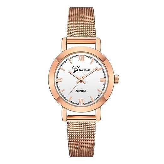 Relojes Mujer,❤LMMVP❤Las mujeres de lujo de acero inoxidable reloj analógico de