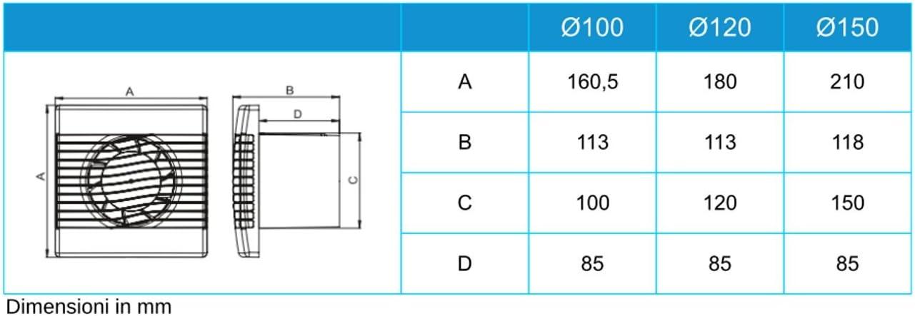 VENTILATORE ASSIALE Prim ARX-PM diametro 100 standard