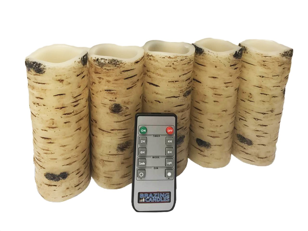 BRAZING CANDLES 5 pc LED Candle Set, Birch, 2'' x 6'', w/remote control LED Candle Wave bite bark EFFECT, Birch wood,w/10 key remote control