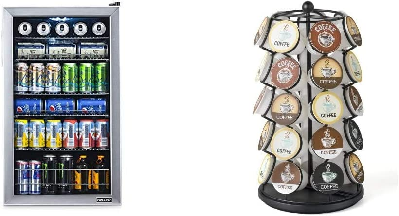 NewAir 126 Can Freestanding Beverage Fridge, Stainless Steel - Limited Edition Design & K-Cup Carousel - Holds 35 K-Cups in Black