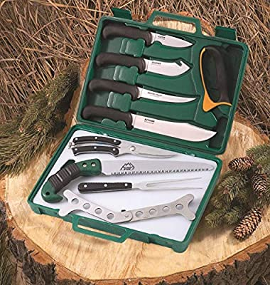 Outdoor Edge Game Processor, PR-1, Complete 12-Piece Hunting Knife Kit for Processing Big Game, Full Tang 420J2 Stainless Razor Sharp Blades, TPR Non-Slip Handles, Sturdy Hide-Side Storage Case