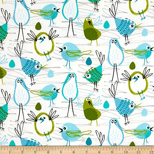 Michael Miller Flannel Fabric - Michael Miller Flannel Robin in The Hood Aqua Fabric by The Yard