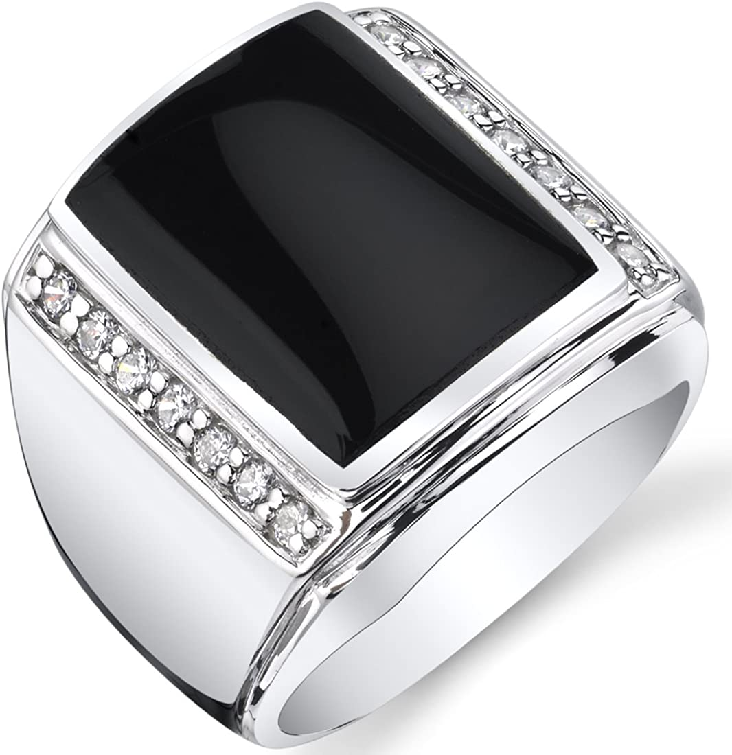 Mens Black Onyx Aston 925 Sterling Silver CZ Ring Sizes 8 To 13