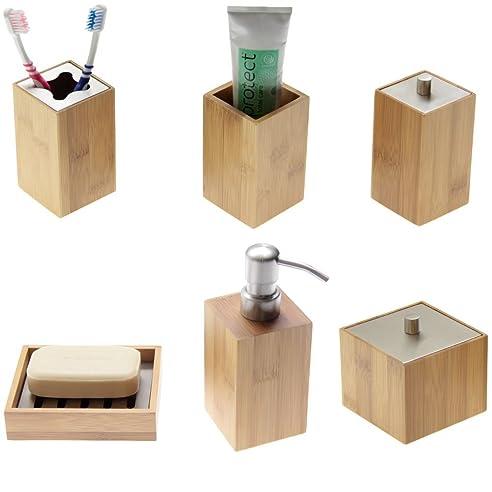 Bambus Bad Accessoires Set Von 6 Pcs Seifenspender   Badezimmer Accessoires  Set