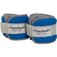 TheraBand - Juego de pesas para tobillos y muñecas, ajuste cómodo, peso ajustable para caminar, para entrenamiento en casa, Versión nueva, Azul, 2.5 Lbs Each