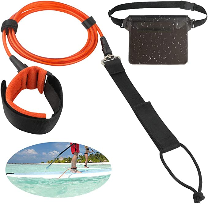 Premium and Straight Surf Leash for Safer and Unbounded Surfing with Waterproof Phone Case 6//8//9//10 feet Unigear Surfboard Leash