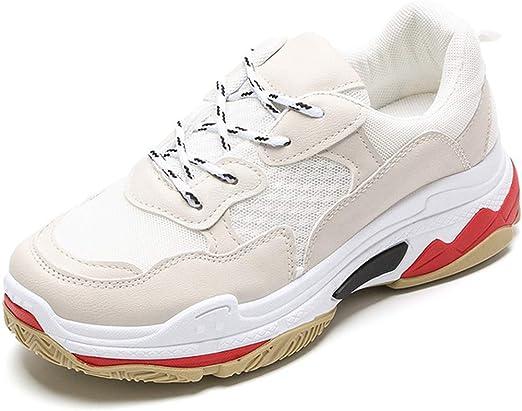 LDFANG Zapatillas De Deporte Zapatos Casuales Sra Aumentaron Atar Pesada De Fondo Antideslizante Sus Zapatos De Colores Mezclados,Blanco,41: Amazon.es: Hogar