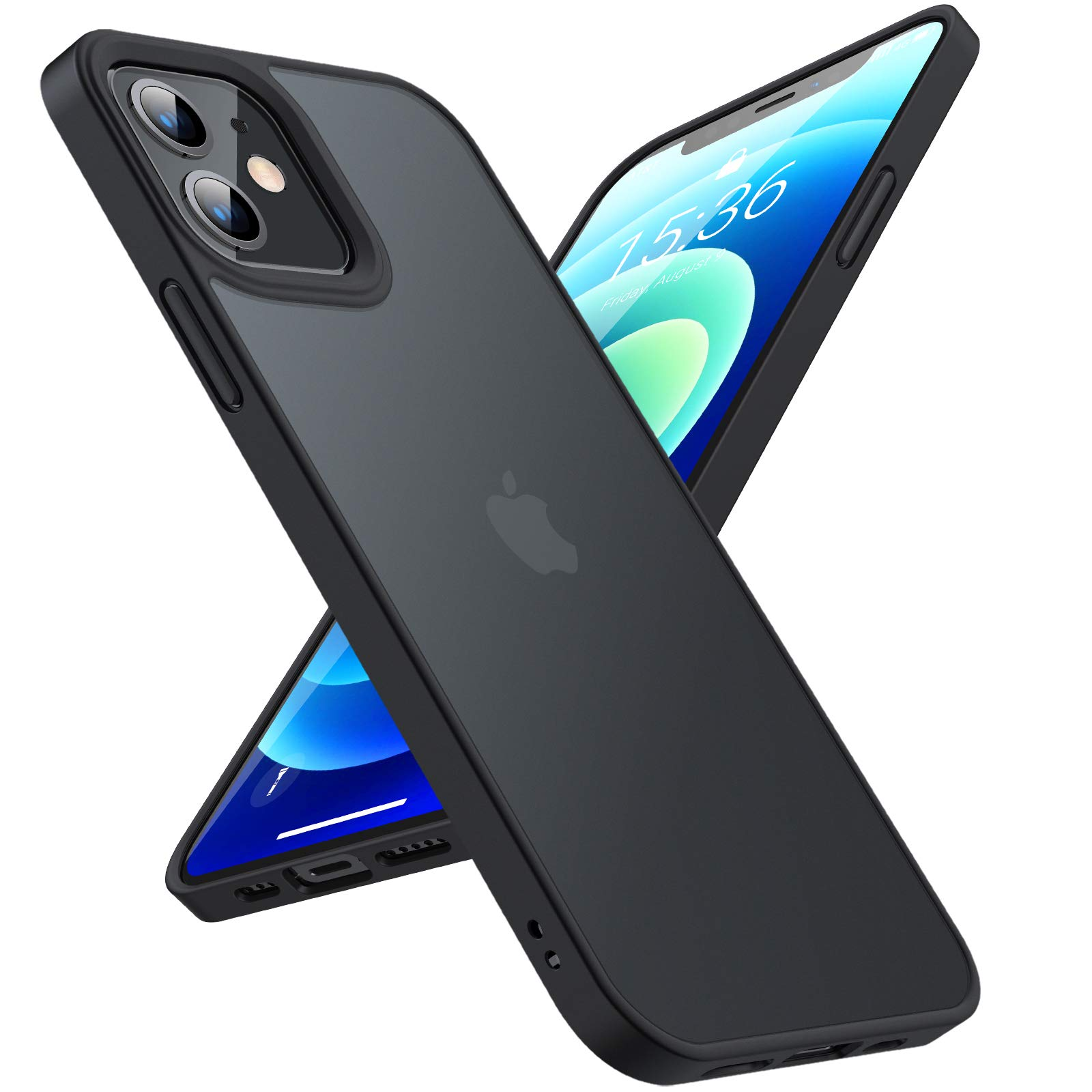 TORRAS Military Shockproof for iPhone 12 Case/iPhone 12 Pro Case, Strong Protective yet Slim Thin Translucent Hard Back with Silicone Bumper Case Guardian Series-Black