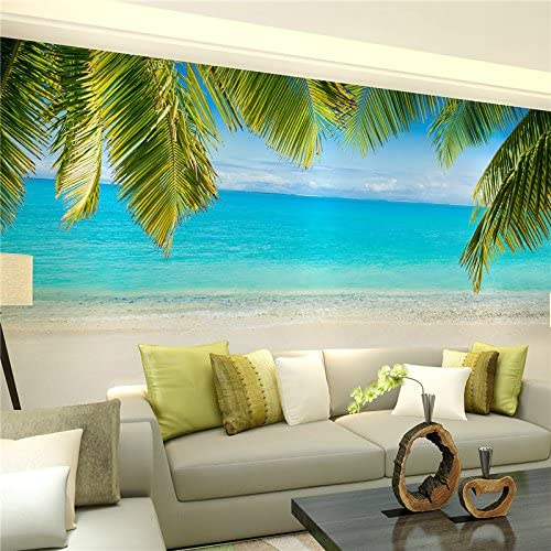 Amazon Com Al Mullk Large 3d Stereo Wallpaper Mural Beach View Beach Background Bedroom Tv Background Wall Home Kitchen