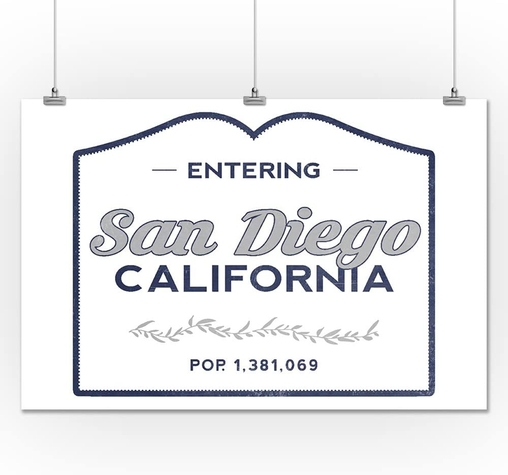 California Now Entering 67587 24x36 SIGNED Print Master Art Print - Wall Decor Poster Blue San Diego