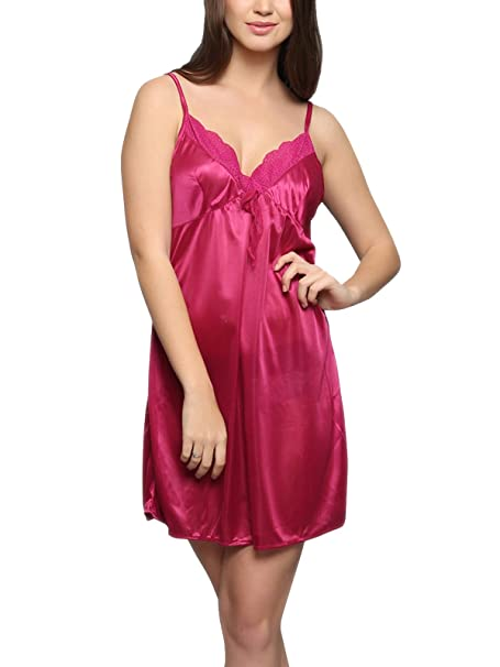 14bc1ca8f0d Clovia Womens Satin Nightslip in Hot Pink  Amazon.in  Clothing ...