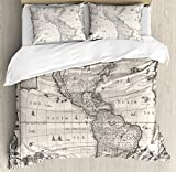 Ambesonne World Map Duvet Cover Set, Antique Map America in 1600s World in Medieval Time Era in Retro Style, Decorative 3 Piece Bedding Set with 2 Pillow Shams, Queen Size, Cream Grey