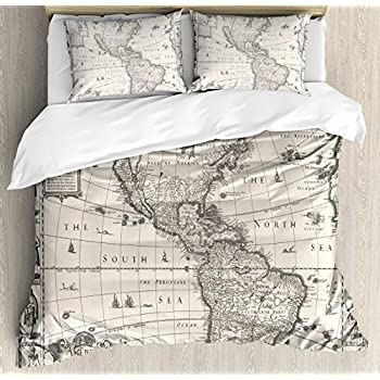 Amazon old world navigation duvet cover bed linen set home ambesonne wanderlust decor duvet cover set queen size image of antique map america in 1600s world in medieval time ancient era decorative 3 piece bedding gumiabroncs Gallery