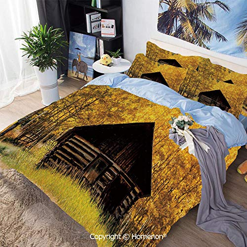 Three-Piece Bed,Abandoned Wooden Farmhouse in Fall Aspen Trees Rural Pastoral Nature Scene,King Size,Include 1 Quilt Cover+2 Pillow case,Brown Yellow