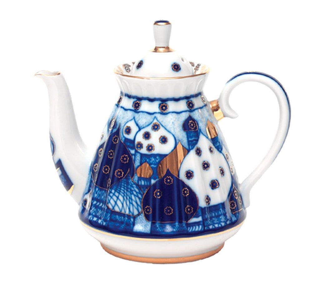 Lomonosov Porcelain Tea Pot Orthodox Domes Church Bells 5 cups 25 oz/750 ml