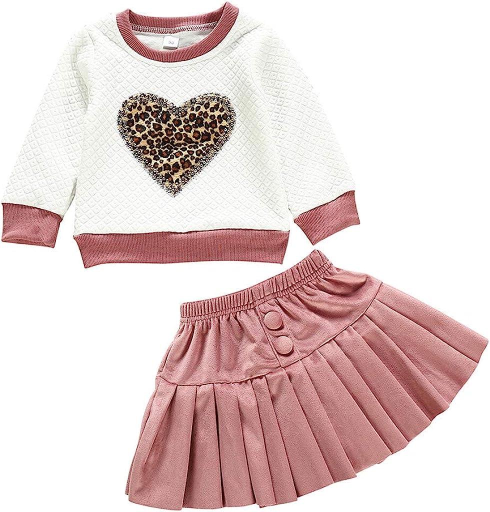 2er Baby M/ädchen Warm Langarm Heart Paillette Pullover Shirt Tops Mini Rock Faltenrock Einfarbige f/ür 0-4 Jahre Outfits Set Baumwolle Kleidung Set Zhen