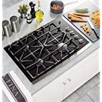 GE Profile 30' Gas on Glass Cooktop 4 Sealed Burners Control Lock ADA Compliant: Black Surface with Stainless Steel Trim JGP940SEKSS