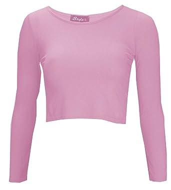e09c02f8583d3c Thever Women Ladies Long Sleeve Plain Scoop Neck Crop Top Sz 8-14 at ...