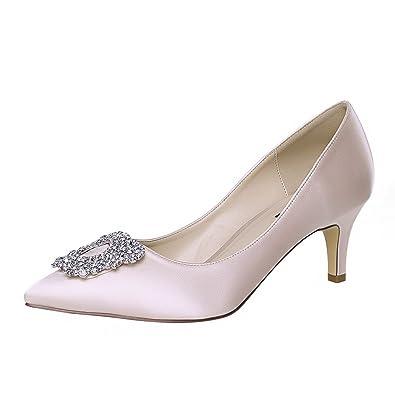 ERIJUNOR E1604 Women Pumps Low Heel Rhinestone Brooch Satin Evening Dress Wedding Shoes Blush Size 5