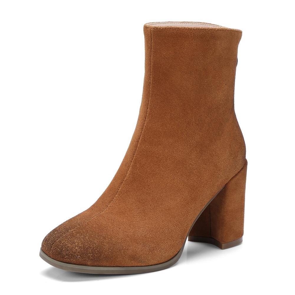 NVXIE Damen Kurze Stiefel Neue Mode Stiefel Quadratischer Kopf Mid Rough Heel Echtes Leder Scrub Herbst Winter
