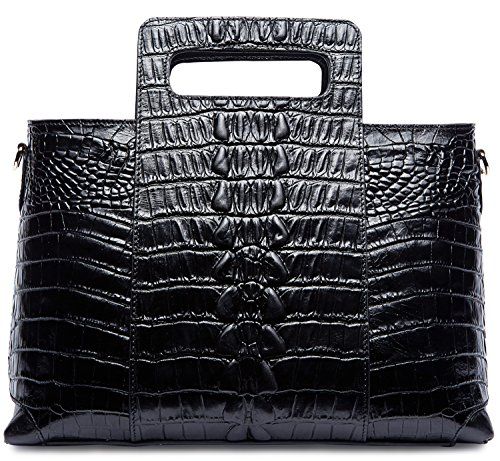 903baf6da6a4 PIFUREN Classic Embossed Crocodile Genuine Leather Top Handle Satchel  Handbags …