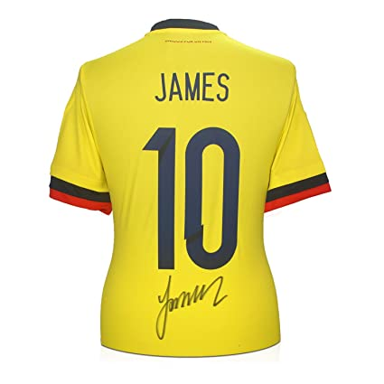brand new 2dd06 1962f James Rodriguez Signed Number 10 Colombia Soccer Jersey at ...