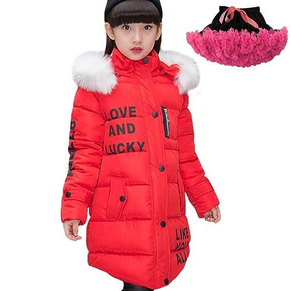LSERVER Winter große Pelzkragen mit Kapuze langärmelige Mädchen Baumwolle Gepolsterte Kinder Daunenjacke