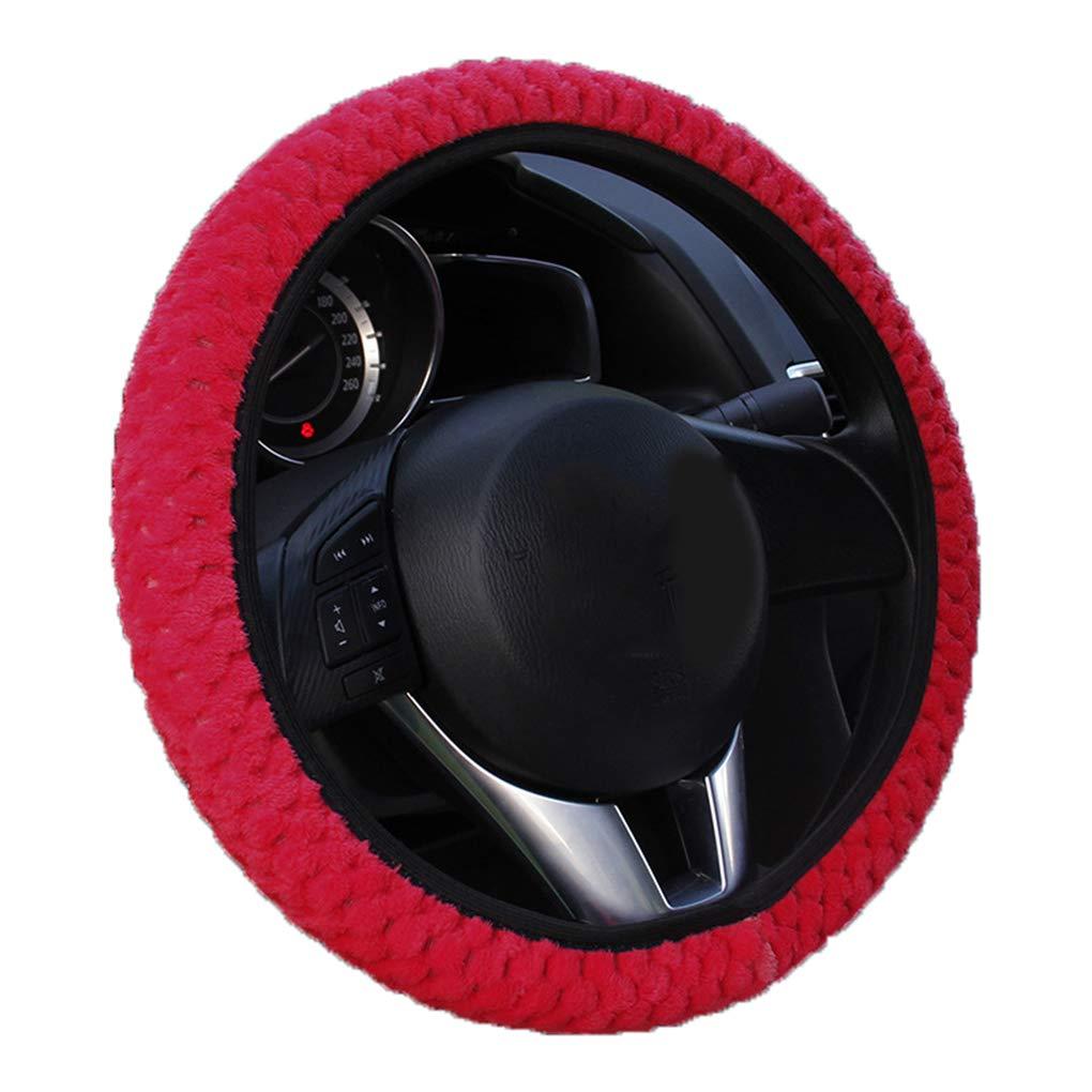 Hotaluyt Universal Soft Warm Plush Car Steering Wheel Cover Elastic Automobiles Auto Steering-Wheel Case Protector