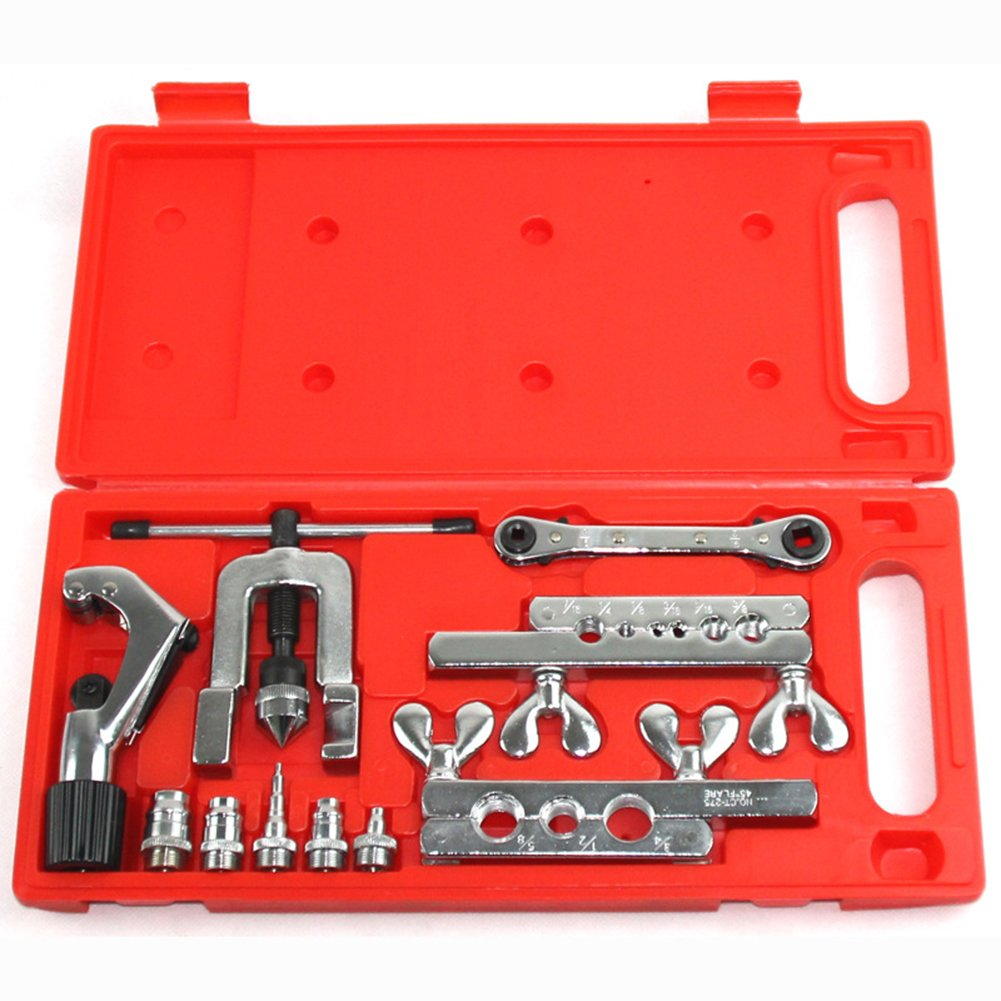 LIAMTU Tubing Flaring Tools Kit, Heavy Duty Steel Swage Tool Set Include Pipe Cutter & Ratchet Wrench
