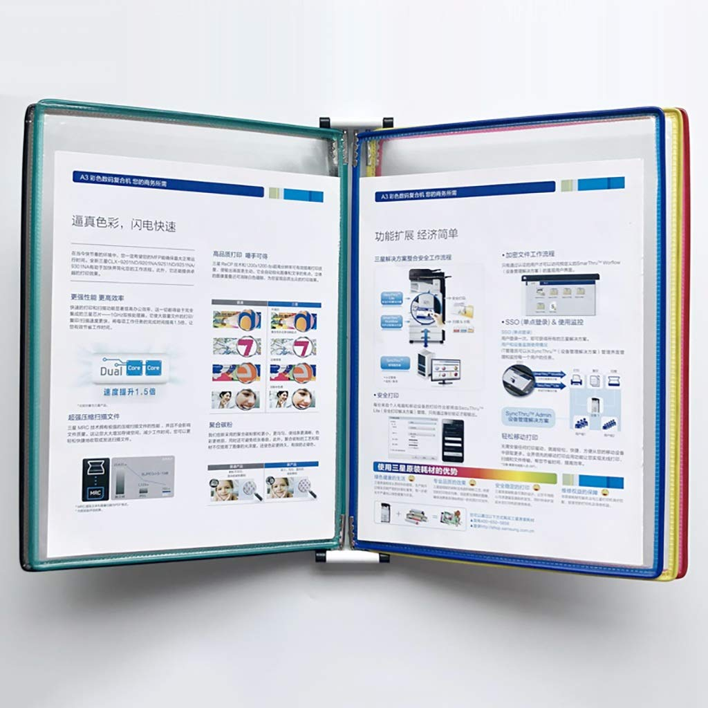 VIP Customer Information A4 File flip Folder Wall-Mounted Loose-Leaf Transparent Page Display 5 Pages(PVC + Metal) 33235.8CM (Color : O)