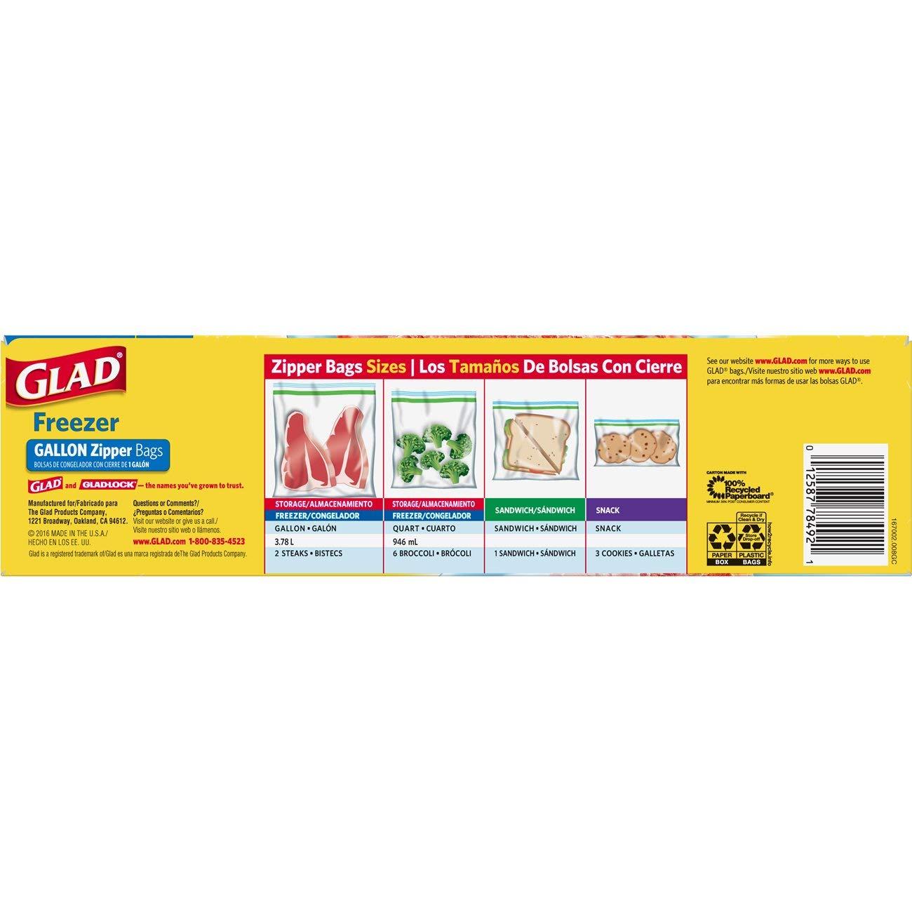 Amazon.com: Glad Zipper Food Storage Freezer Bags - Gallon ...