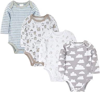 Body para Bebé Niños Niñas Pack de 4 Pijama Mamelucos Algodón Manga Larga Recien Nacido Monos Ropa Peleles Trajes Regalo 0-12 Meses: Amazon.es: Ropa y accesorios