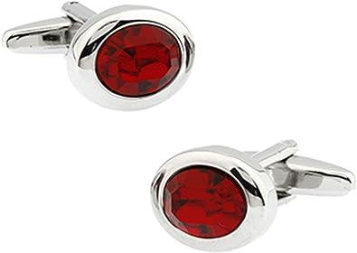 Aienid Gemelos para Camisa De Hombre Oval Plata Roja Mancuerna para Mujer: Amazon.es: Joyería