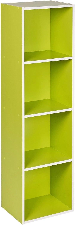 Traders Deals Online 1 3 Green, 1 Tier 2 4 Tier Wooden Bookcase Shelving Display Shelves Storage Unit Wood Shelf