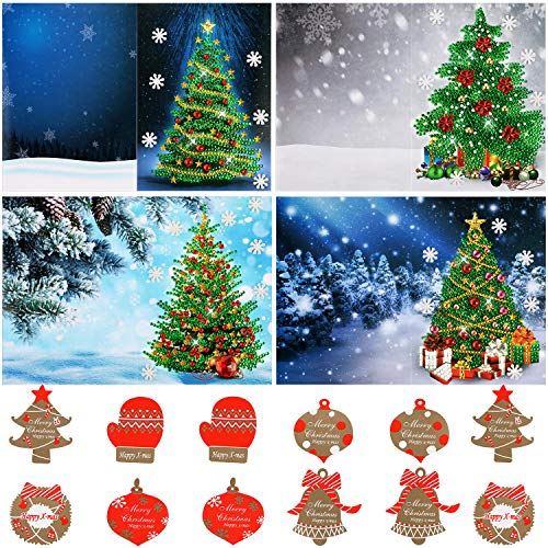 Outus 4 Pieces Christmas Cards 5D DIY Diamond Painting Greeting Card Xmas Tree Cards with Christmas Stickers for Xmas Greeting Gifts