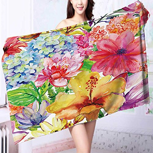 Premium 100% Cotton Bath Towel Seamless wallpaper with wild flowers watercolor painting Soft Cotton Durable L55.1 x W27.5 INCH