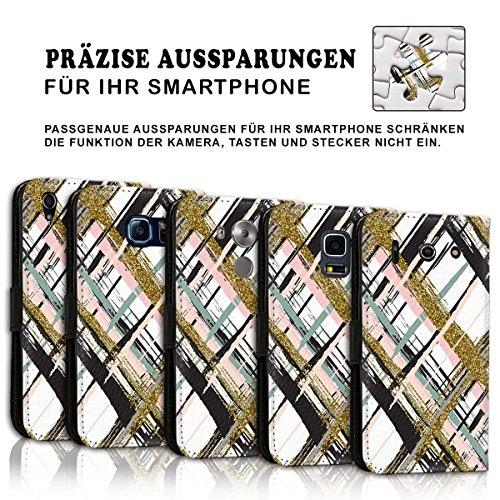 Wallet Book Style Flip Handy Tasche Case Schutz Hülle Schale Motiv Etui für Apple iPhone 5 / 5S - Design Flip MVD213