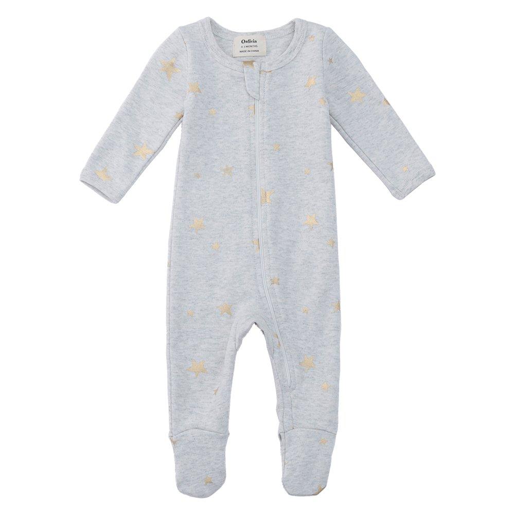 Owlivia Organic Cotton Baby Boy Girl Zip Front Sleep 'N Play, Footed Sleeper, Long Sleeve (Size 0-18 Month) (12-18 Months, Gray Metallic Star)