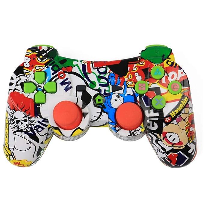 RQINW Controlador de Juegos inalámbrico Bluetooth para PS3 Controlador para PS3, Carga por USB, retroalimentación por vibración: Amazon.es: Deportes y aire ...