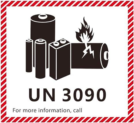 UN 3090 CHEMTREC Caution Lithium Battery Labels 4.5 x 4.75 inches 500 Labels