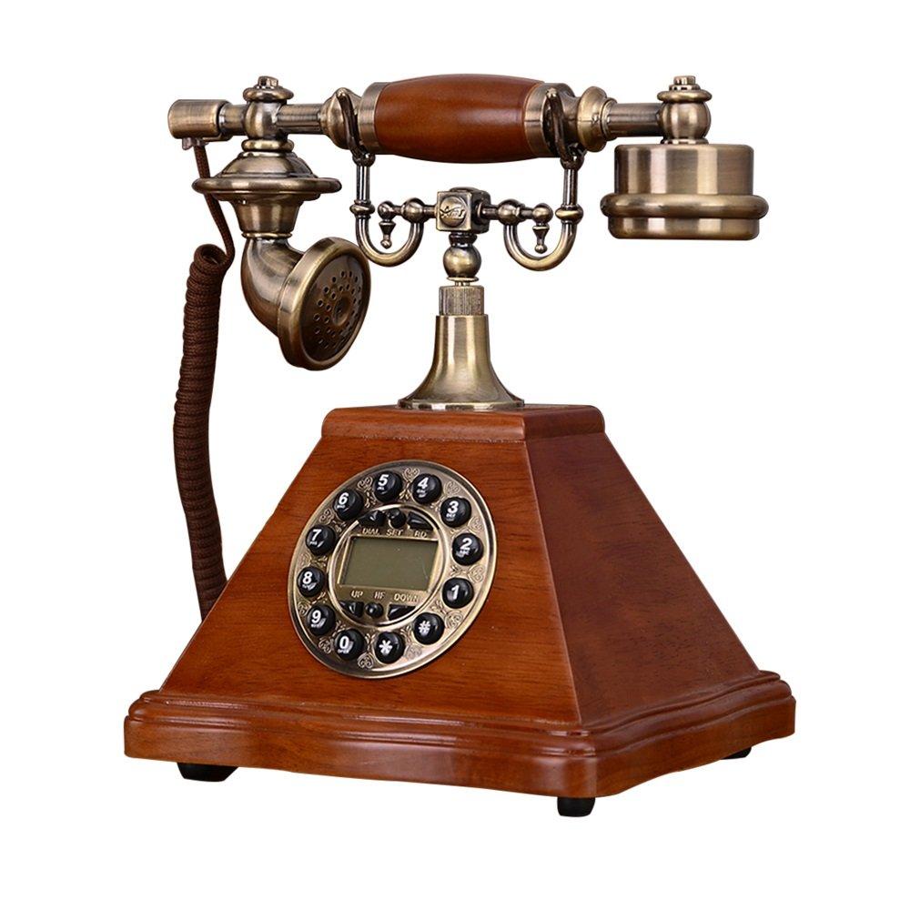 レトロ/アンティーク/ソリッドウッド/電話/キーダイヤル/発信者IDとその他の機能、木製と真鍮製の有線電話(サイズ:20 * 19 * 27センチメートル)ヨーロッパの固定電話 (Color : B+backlight)   B07PGFYTTL
