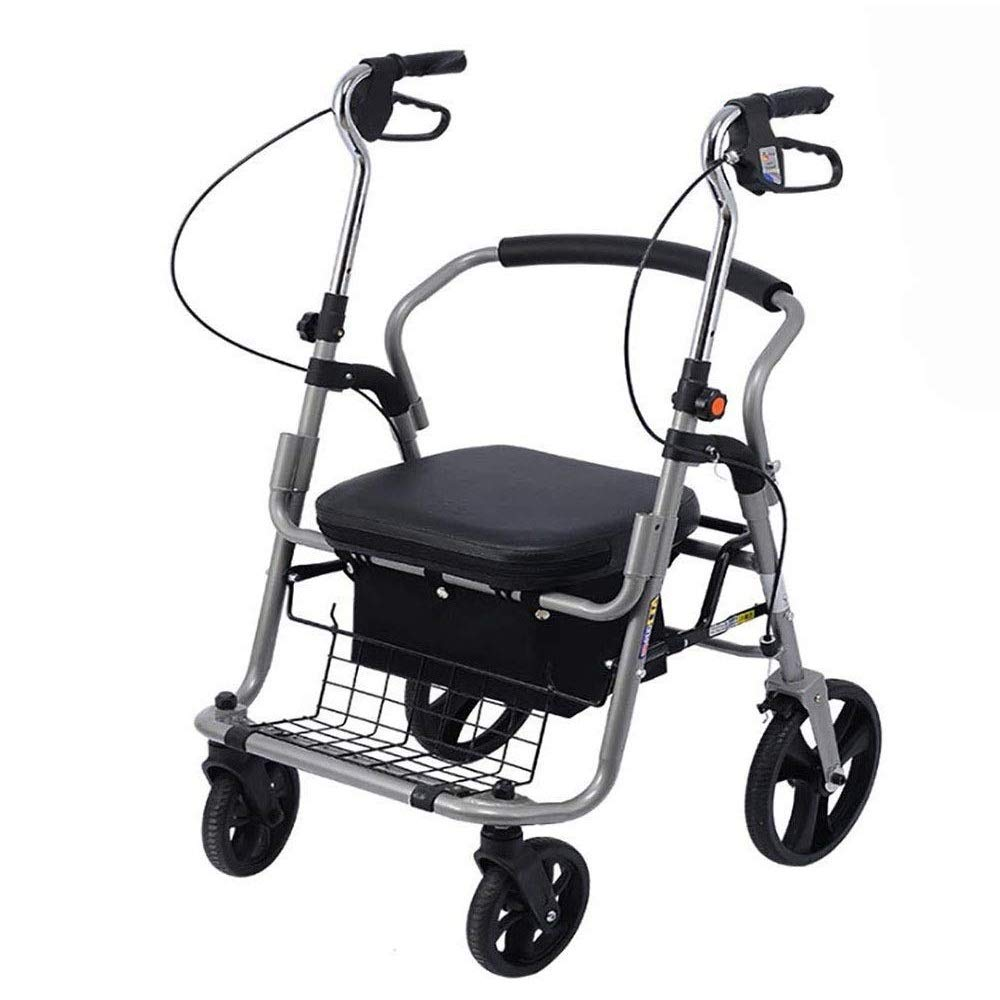 Walker Rollator with Seat and Foot Rest,Adjustable Handle Height with Upholstered Seat and Lower Basket Double Safety Brake Auxiliary Walking Safety Walker (Color : Black B)