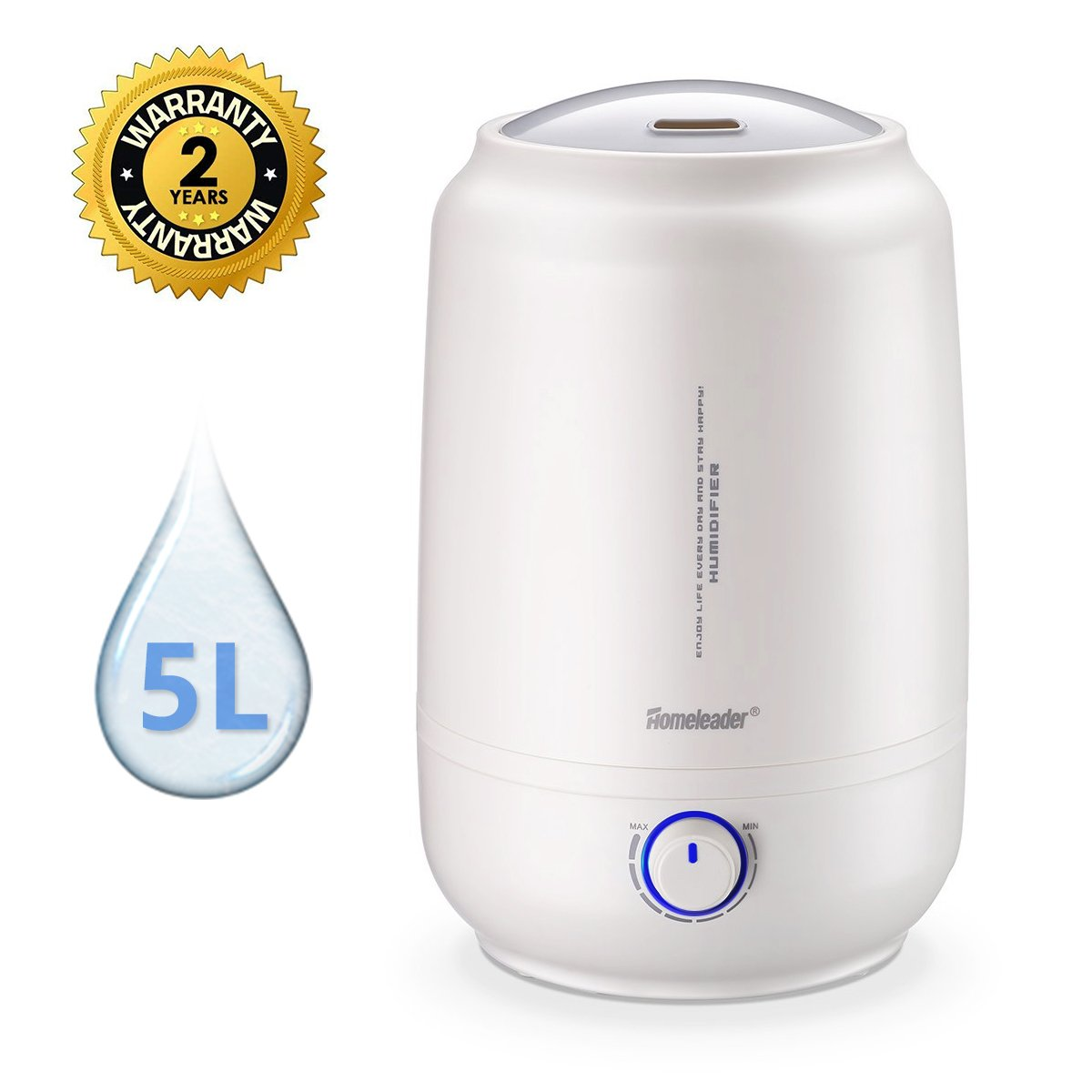 Homeleader Cool Mist Humidifier, Air Humidifier for Home, 5L Large Capacity Ultrasonic Air Humidifier Waterless Auto Shut-off with Adjustable Mist, Whisper-Quiet Operation