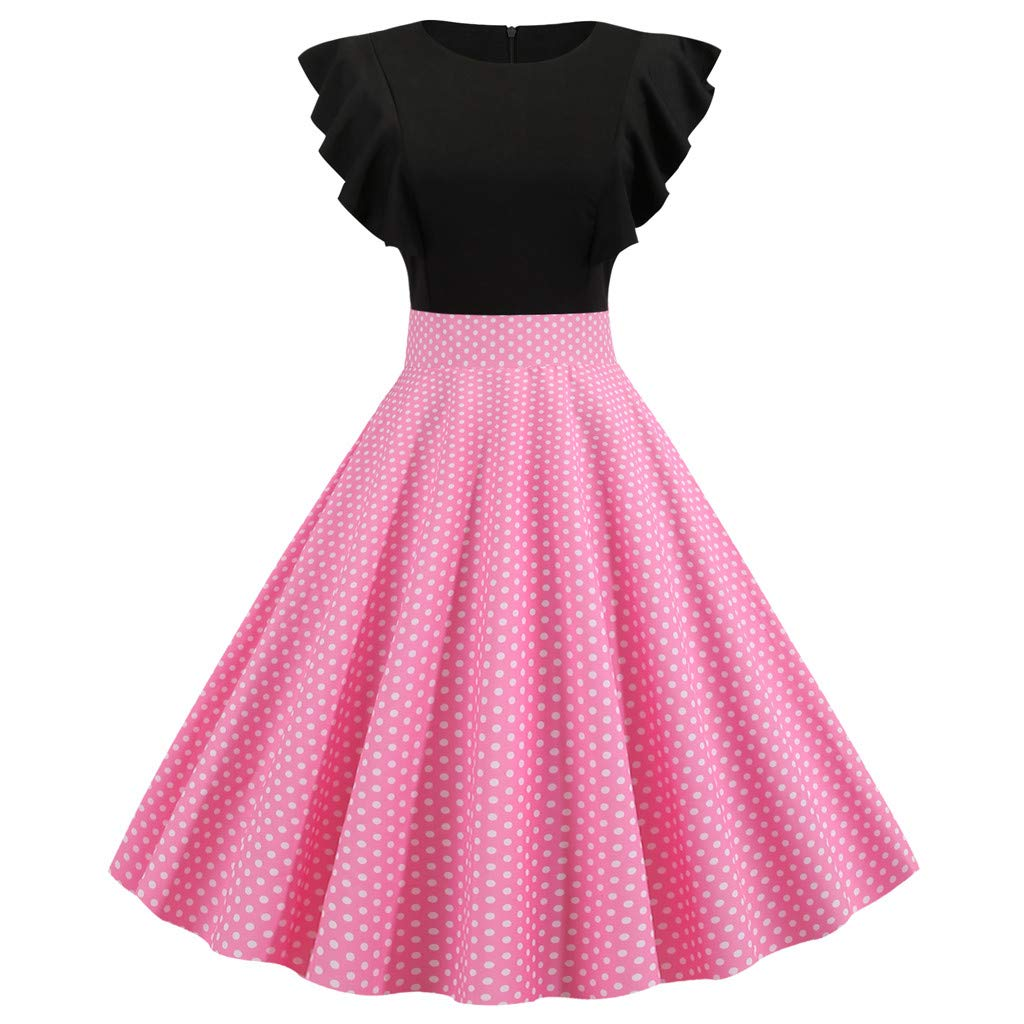 TRENDINAO Women's Polka Dot Party Dress Hepburn Vintage Casual Pleated Slim Ruffle Sleeve Elegant Swing Dresses Pink by TRENDINAO