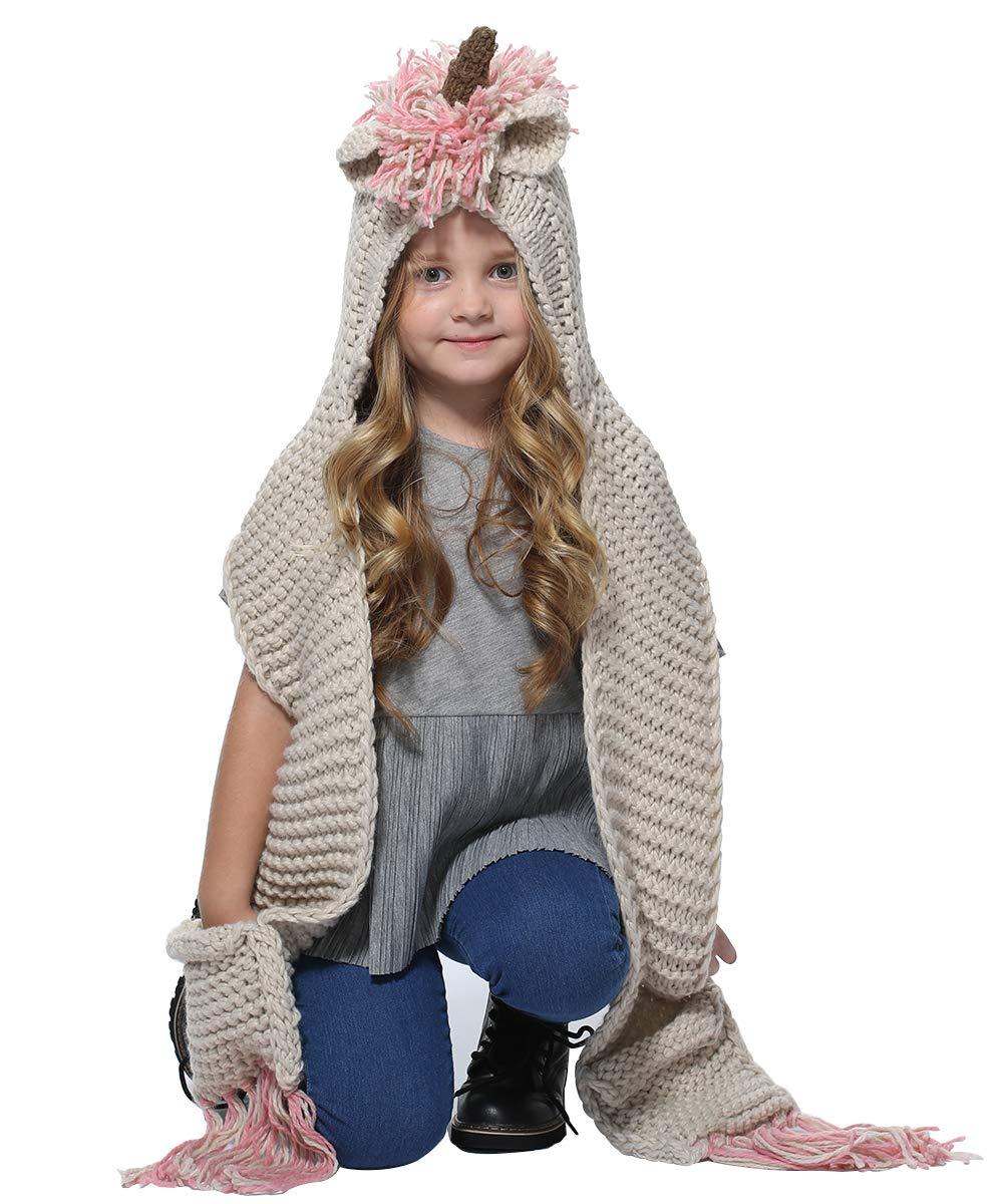 SENSERISE Winter Kids Warm Animal Hats Knitted Hood Scarf Beanies 1 Pink Unicorn(3-10years Old)