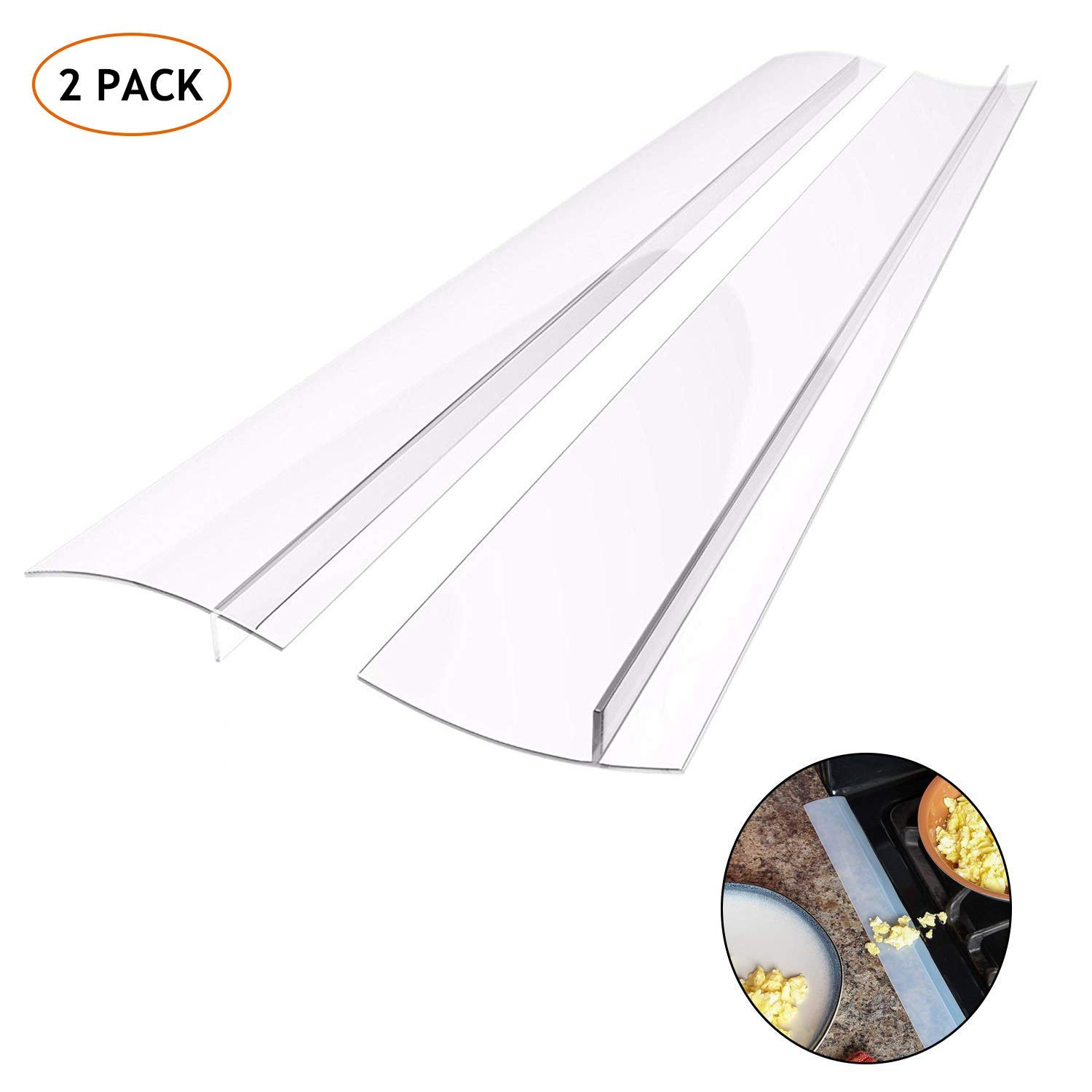 Kitchen Silicone Stove Counter Gap Cover, Easy Clean Heat Resistant Wide & Long Gap Filler, Seals Spills Between Counter, Stovetop, Oven, Washer & Dryer, Set of 2 (25 Inches, semi-clear)